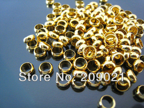 Wholesale - Finding - 300 pcs Gold Round Small Daisy Spacers Beads with Large Hole ( 5mm x 2mm )