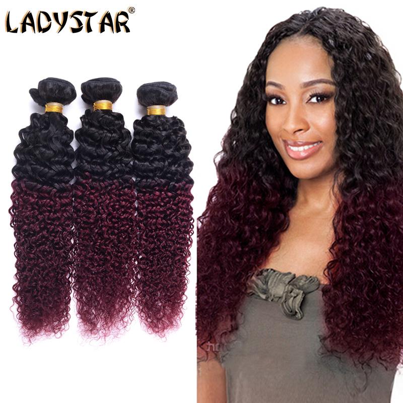 LADYSTAR Modern Hair Ombre Kinky Curly Hair 4 Bundles 6A Peruvian Virgin Kinky Curly Hair Extension Fashion Women Favorite Hair