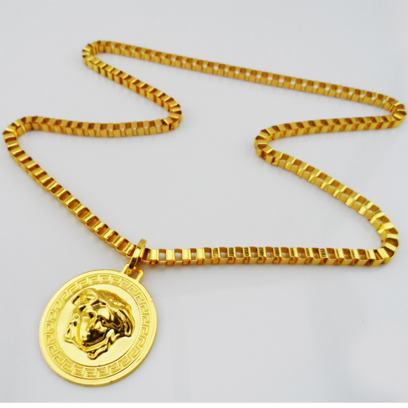 2015 High quality Women&Men Hip hop long necklace Europe Fashion Celebrity head 24Kgold plated HipHop Necklace Wholesale Jewelry(China (Mainland))