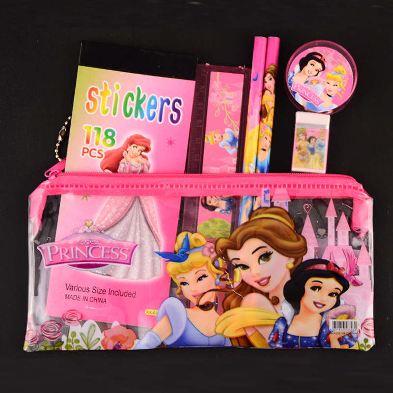 1 set princess pencil case for kids cartoon sticker estojo escolar cute pencil cases school supplies stationery set