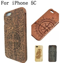 100% Real Natural wooden for tree/Bird/Bamboo Pattern Hard Shell case cover for iPhone 5c wood case,SKU 023C810 phone bags cases