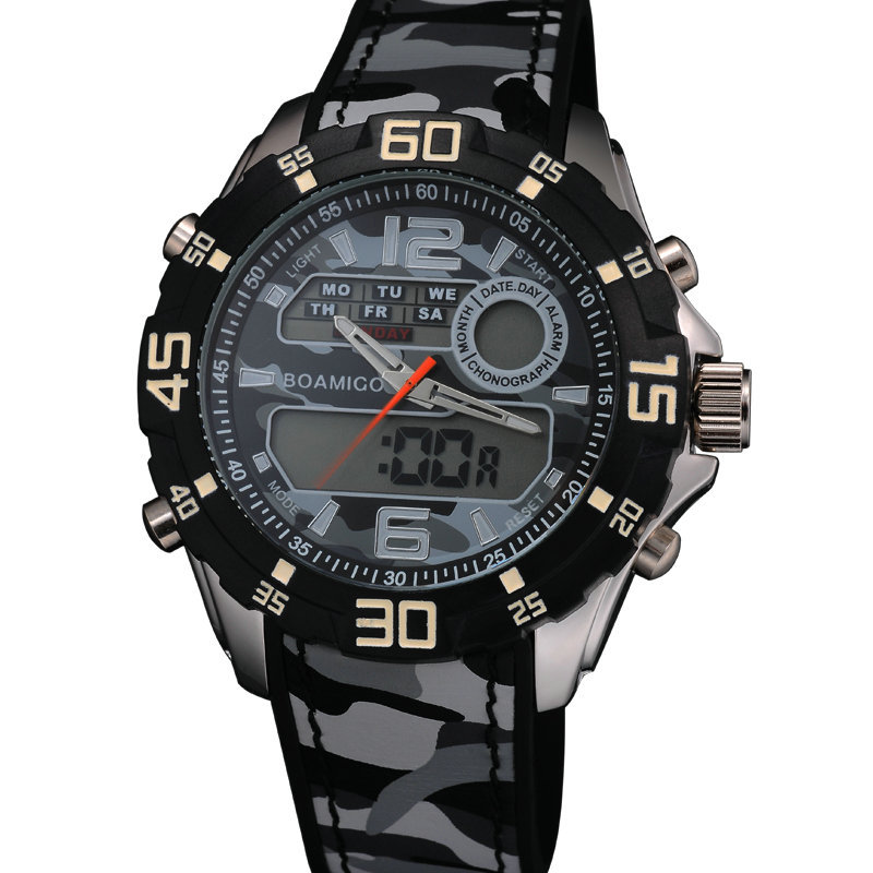 2015 Luxury Brand BOAMIGO Dual Time Men Military Sports Watches Digital LED Quartz Rubber Strap Wristwatches relogio masculino(China (Mainland))