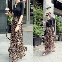 2016 Spring New Women Satin Leopard Print High Waist Pleated Long Puff Midi Skirt Ms. summer beach skirts