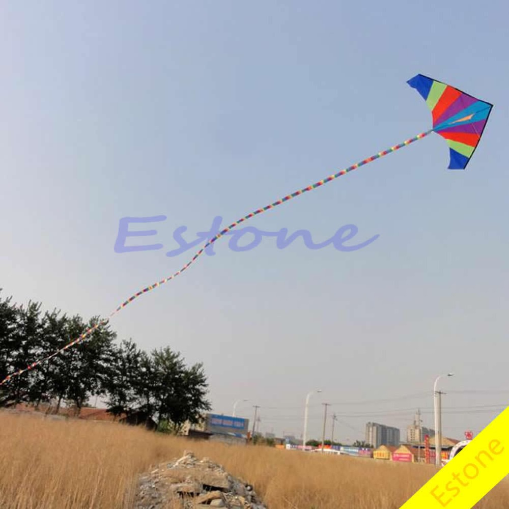 Free Shipping 1pc 10M Super Nylon Stunt Rainbow Kite Tail Line Kite Accessory Kids Gift(China (Mainland))
