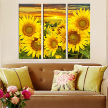 Hot Canvas Printed Sunflower Wall Painting Art Poster Modular Picture for Living Room Canvas Painting Art Works Unframed 3pcs(China (Mainland))