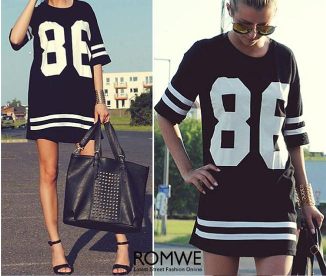 2015 Summer Style Hip Hop Women Tshirt Dress Club Dress Fashion Baseball Short Sleeve Number 86