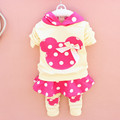 kids clothes Spring 2016 long sleeved Cotton Hooded dot coat pants two pieces suit for children