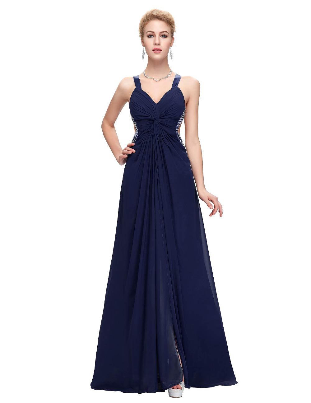 Spaghetti straps long elegant prom dresses 2016 navy blue for Navy evening dresses for weddings