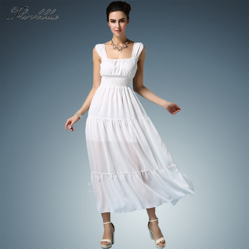 Solid white summer dresses