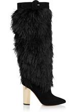 Punta estrecha a media pierna plumas negras decorado mujeres nieve Natural de tacón alto para mujer lujo zapatos para mujeres(China (Mainland))
