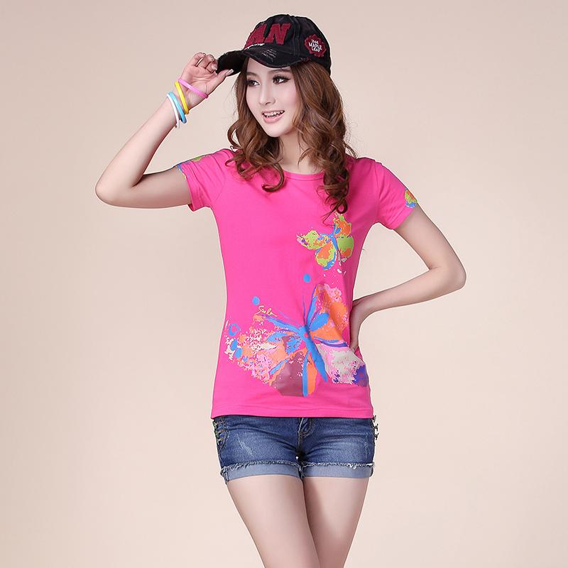 JK.200 Brand Free Ship Plus Size fashion Women t shirt Short sleeve tshirts Casual Butterfly Lady Slim Brand tops t-shirt woman(China (Mainland))