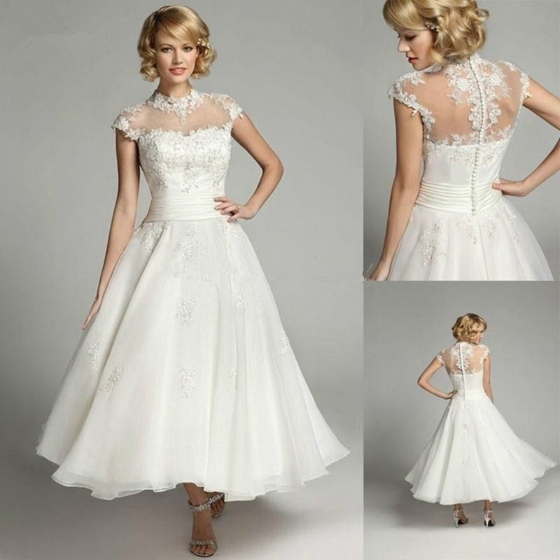 Classic Wedding Dresses Short : Vintage short bridal dresses high neck tea length wedding