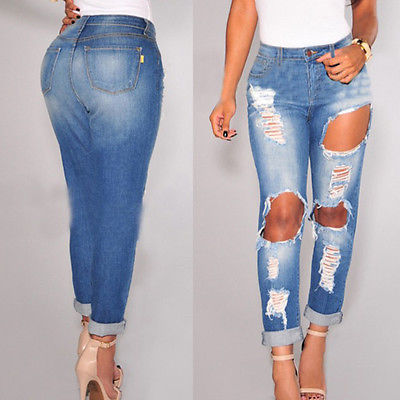 Popular Destroyed High Waist Skinny Jeans-Buy Cheap Destroyed High