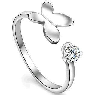 Fine Jewelry Wholeheartedly fashion Butterfly Design Finger Ring 925 Sterling Silver Adjustable Ring best friends jewelry gift(China (Mainland))
