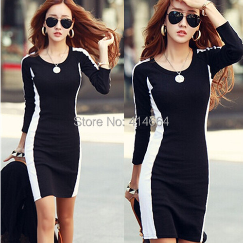 New 2015 Dresses Women Knitting Cotton Dresses Korea Style Slim Casual Dress Black And White Patchwork Dresses Fit Autumn winter
