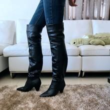 9 cm Hoge Hakken Dij hoge Laarzen Schoenen Vrouwen Faux Fur Winter Sneeuw Schoen Vrouw Zwart Leer Over De Knie laarzen Lange Winter boot(China)
