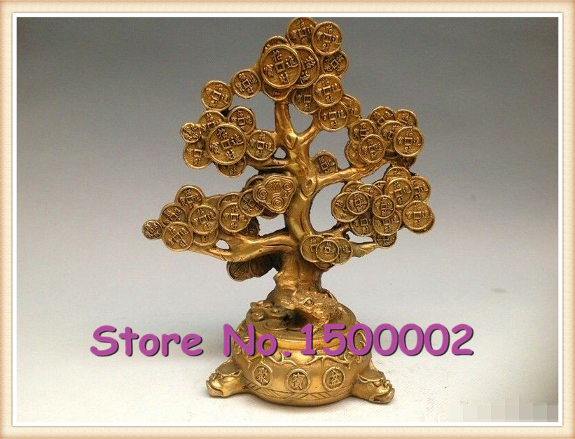 Chinese Folk Copper Bronze Feng shui Lucky Wealth Money YuanBao C0in Tree Statue(China (Mainland))