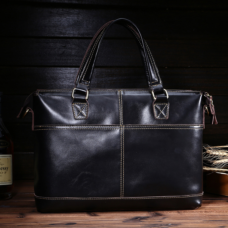 Genuine leather handbag male horizontal first layer of cowhide man bag one shoulder cross-body commercial vintage briefcase bags<br>