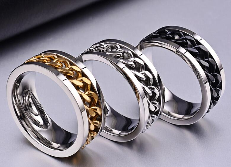 Queen New Trendy Jewelry Titanium Steel Men Women Finger Ring with Chain Inset Holiday Gifts Individual Style Rings three colors(China (Mainland))