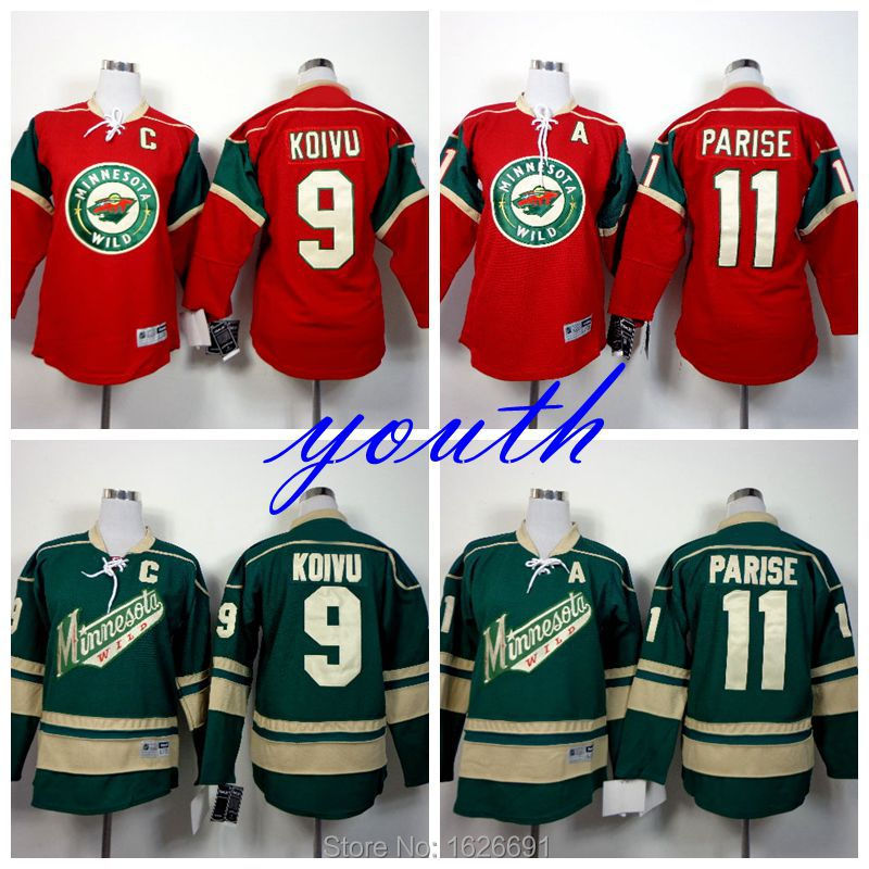 Гаджет  Youth Minnesota Wild Hockey Jersey 9 Mikko Koivu 11 Zach Parise Jersey Kids Home Red Green Boys Stitched Jerseys Embroidery Logo None Спорт и развлечения