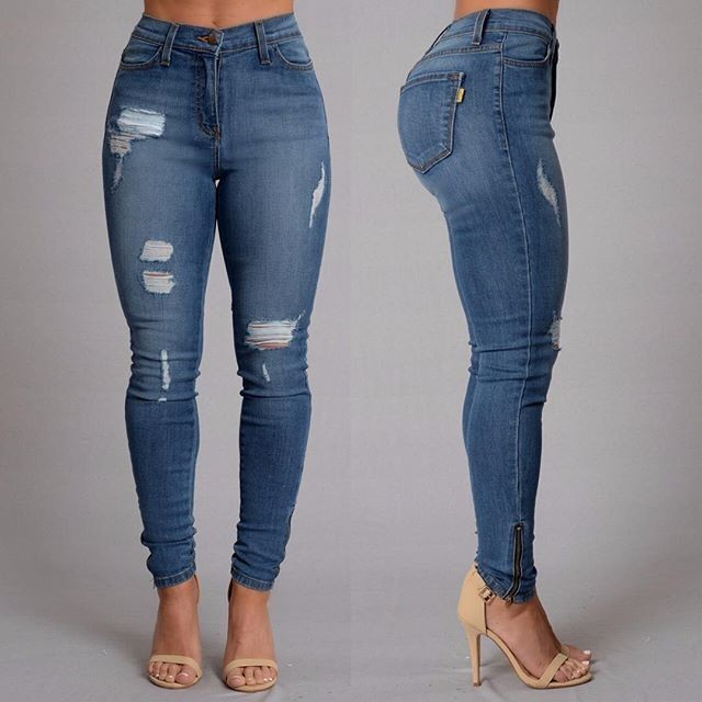 2016 sexy fashion new style jeans Full Length Mid-waist Ripped jeans Skinny  for women's jeans