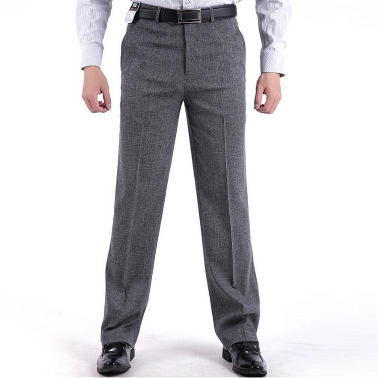 Mens Suit Pants Summer Mid Waist Business Casual Pants Men Classic Zipper Pleated Straight Silk ...