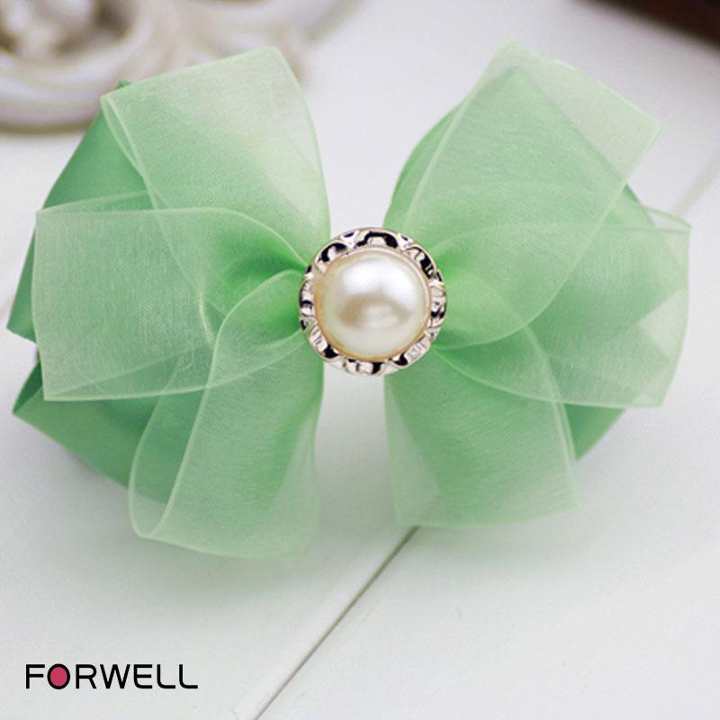 Hot sale hair accessories for women graceful big pearl green silk yarn bow hairpins headwear handmade hair clip hair ornaments(China (Mainland))
