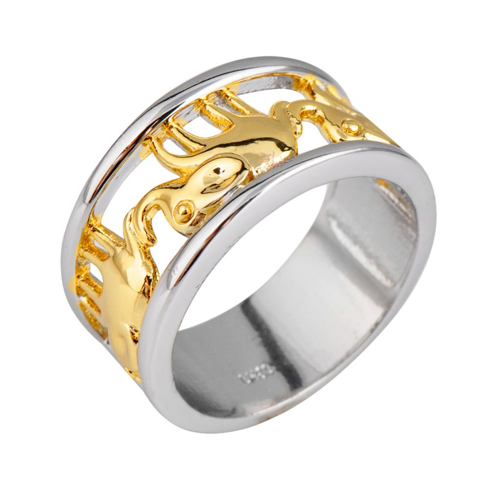 new luxury yellow elephant ring white gold filled jewelry