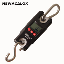 Buy NEWACALOX 300kg/661lb x 0.1kg Mini LCD Digital Crane Scale Electronic Weight Stainless Steel Hook Hanging Scale for $42.39 in AliExpress store