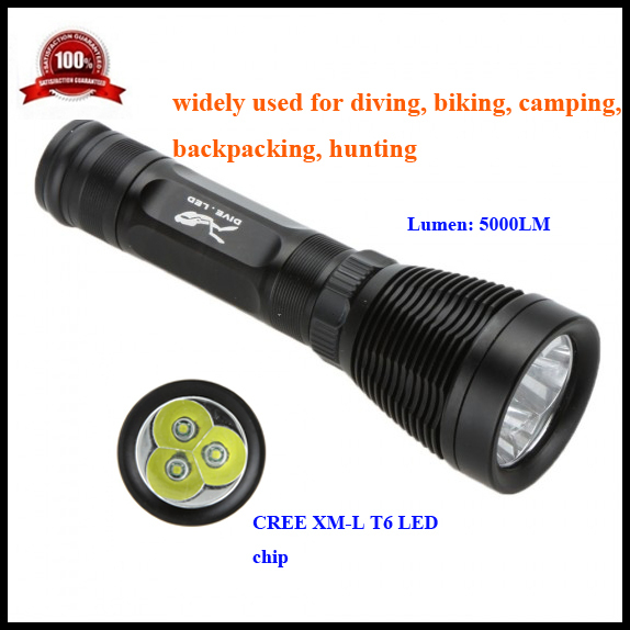 LED Diving Flashlight 3*CREE XM-L T6 5000LM 8 Modes IPX8 Underwater Light Swimming Lamp 80 Dive LED Fishing Light