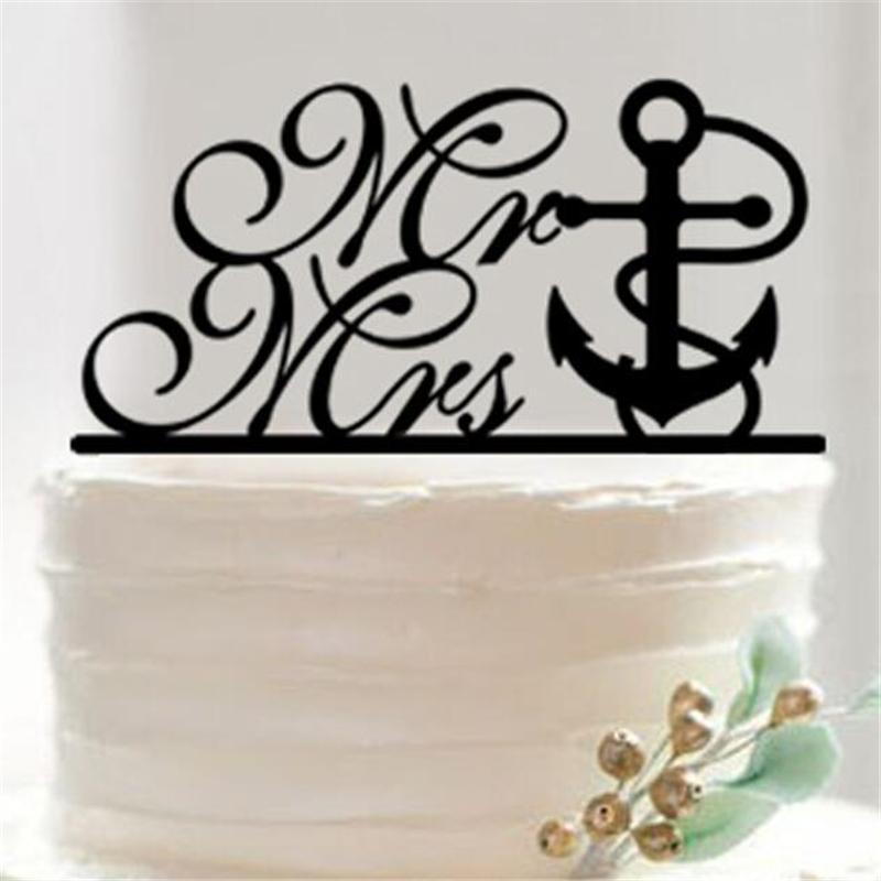 Black Acrylic Marine Wedding English Alphabet Cake Topper Wedding Cake