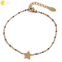 CSJA złoty kolor gwiazda Charms ze stali stalowy łańcuch & Link bransoletki bransoletki bransoletki Femme dziewczyna czeski biżuteria zaręczynowa S417(China)