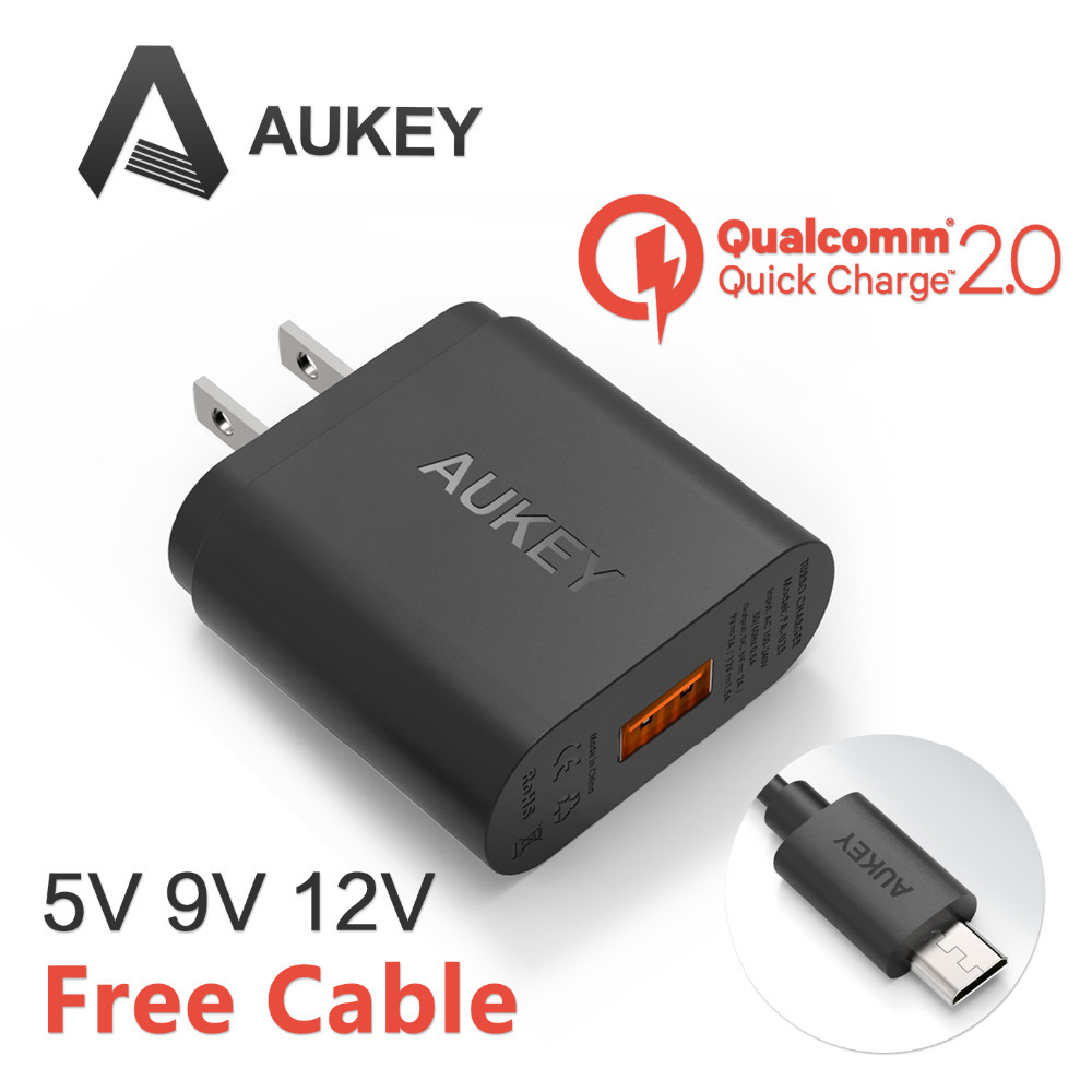 [Qualcomm Certified] Aukey Quick Charge 2.0 18W USB Turbo Wall Charger Fast Charger For SAMSUNG S6 s6 edge HTC XiaoMi ASUS LG