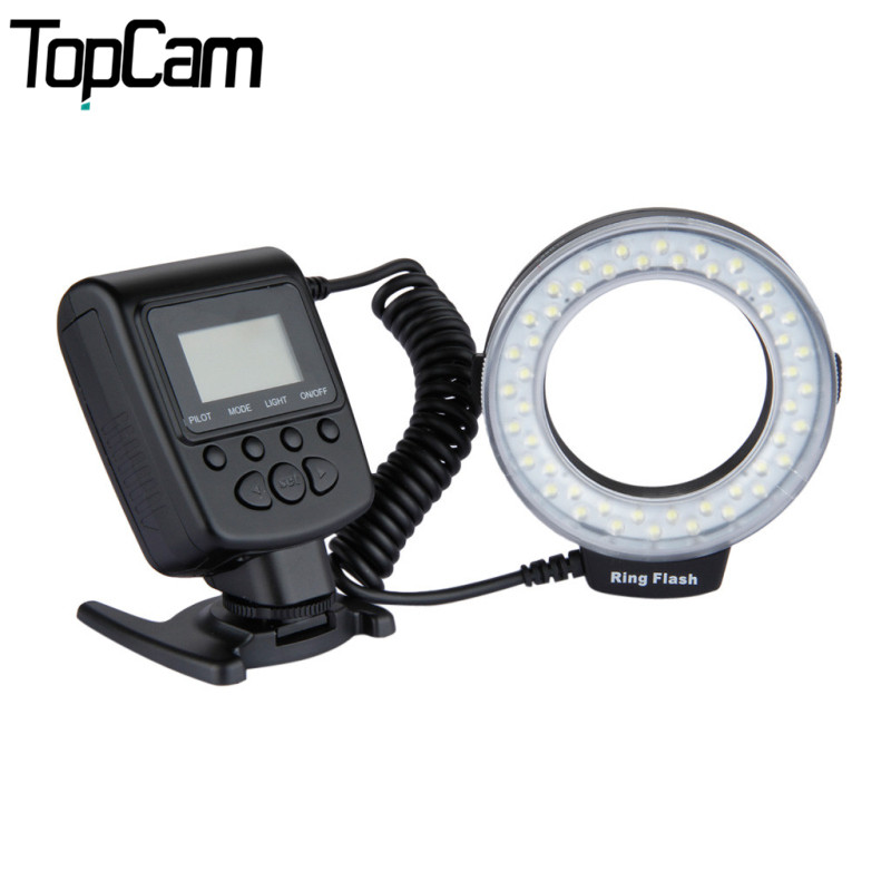 Excelvan CN48 Marco LED Ring Flash Light for DSLR Camera with Four Diffusers 8 Adapter Rings For Nikon Canon Panasonic Pentax(China (Mainland))