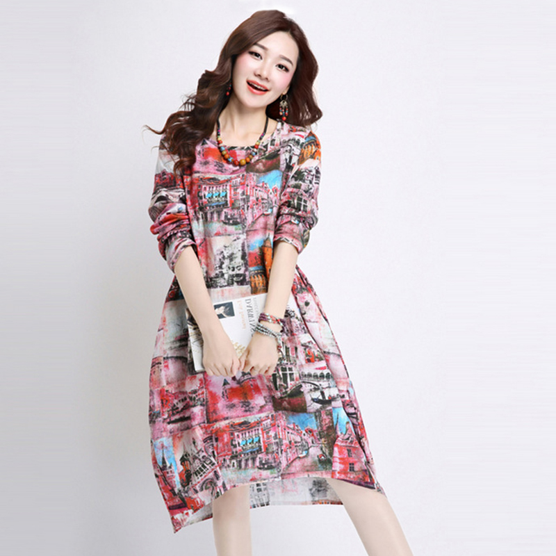2016 Summer Style Women Long Sleeve Dress landscape Print Cotton and Linen Midi Dresses Female Casual Vestidos Plus Size Dress