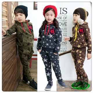 2015 autumn girls clothing sets children girls hooded stars coat+pants casual sportswear set(China (Mainland))