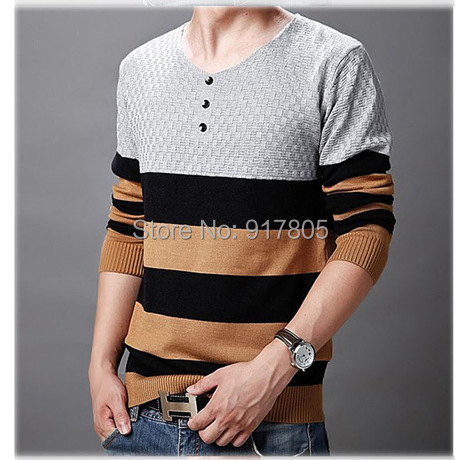 Fashion New Autumn Winter Designer Men Pullover Patchwork Color Rhombic Knitted Sweater V-Neck Casual Slim Shirt - Sherry Fu's store