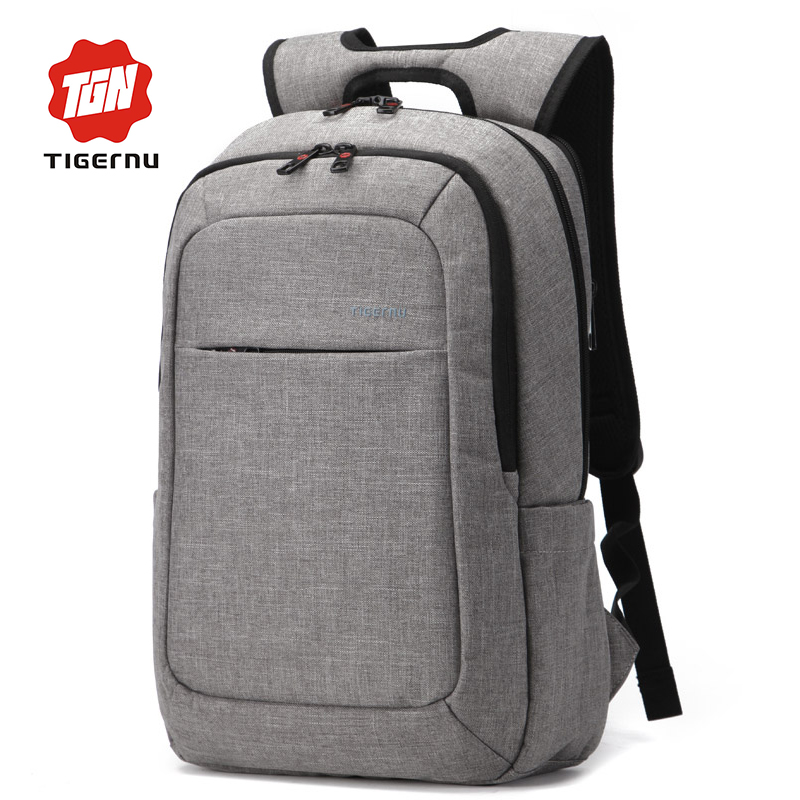 2016 Grey Canvas Men's Backpack Bag Brand High Quality 14.1 15.6 Inch Laptop Notebook Mochila for Men Waterproof Back Pack(China (Mainland))