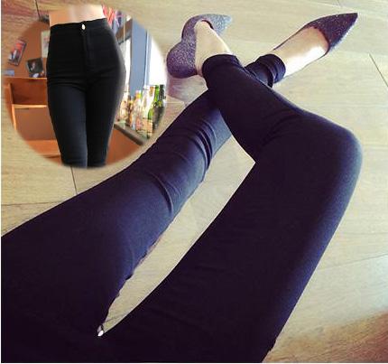 Women Vintage High Waist Elastic Skinny Thin Jeans Tight-fitting Female Stretch Denim Pencil Pants Black Legging Slim Trousers