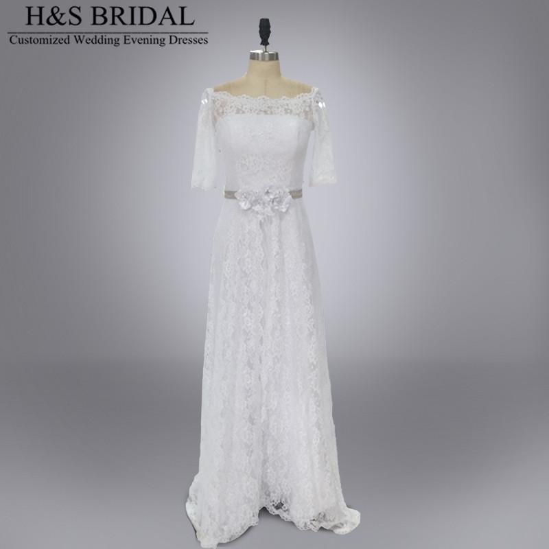 Buy real model vestido novia bridal dress for Boat neck long sleeve wedding dress