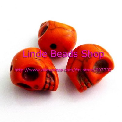 Free shipping(China Post Air Mail)!! 17mm thread Turquoise skull beads Orange colour in wholesale 50pcs/lot ST0013(China (Mainland))