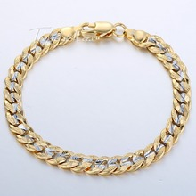 6mm Womens Mens Chain Girls Boys Hammered Cut Round Curb Cuban 18K Silver Yellow Gold Filled GF Personalized Bracelet GB292(Hong Kong)