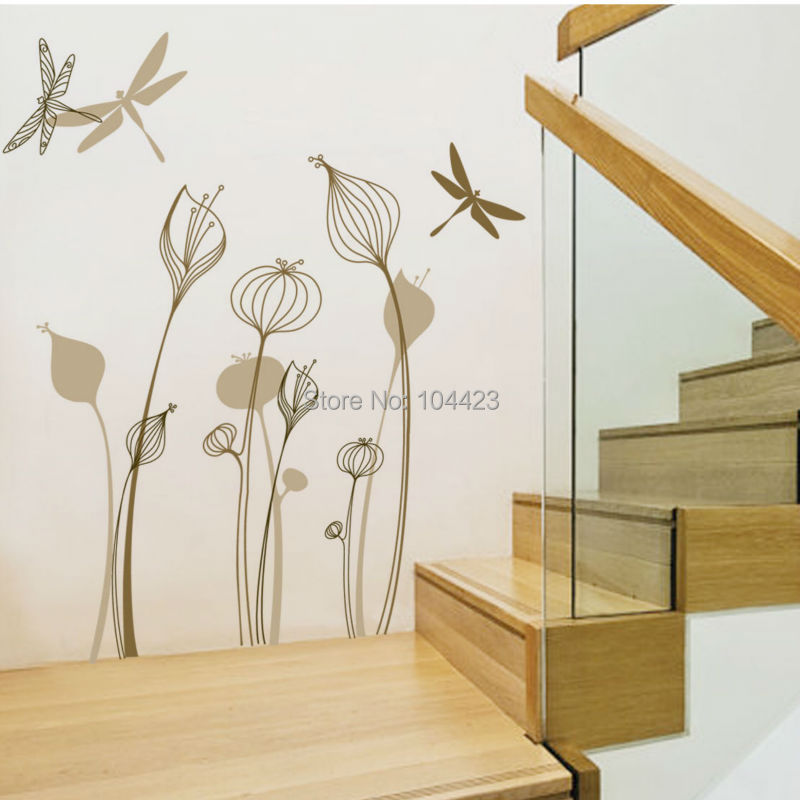 Lily flower and dragonfly pvc wall sticker removable and for Waterproof wallpaper for home