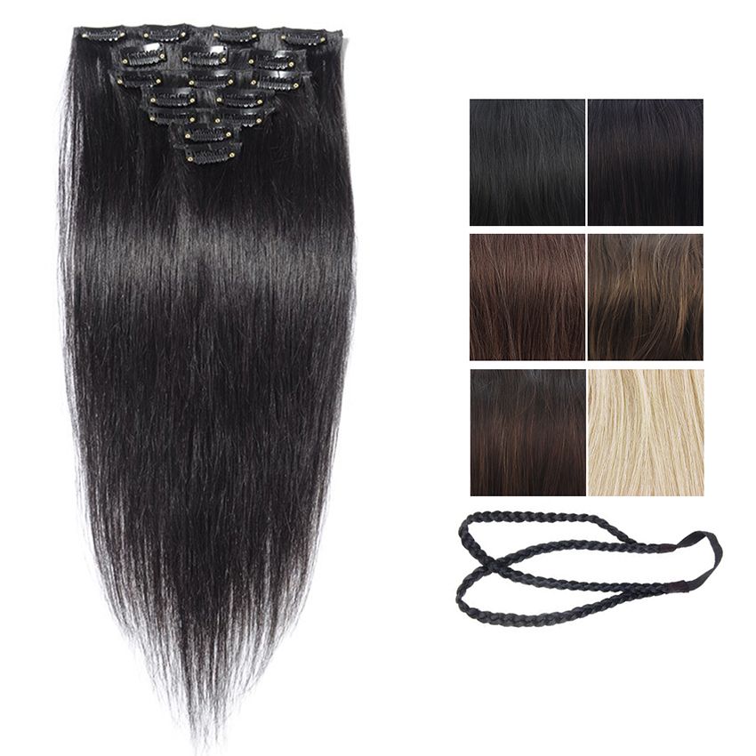 Clip In Real Human Remy Hair, Brazilian Virgin Straight Hair Extensions, 100% Unprocessed Human Clip in Hairpieces 70g 7pcs/set