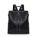 Female Double Zipper Backpacks Women Shoulder Bag Large Fashion Girl School Bags Solid PU Leather Ladies