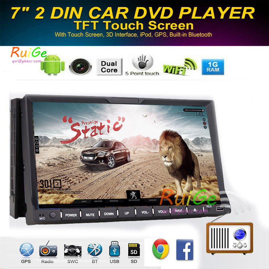 In Dash HD Touch Screen 2Din android Car DVD/USB/SD Player Bluetooth GPS Stereo Radio Car phone Connector for all Car Multimidia()