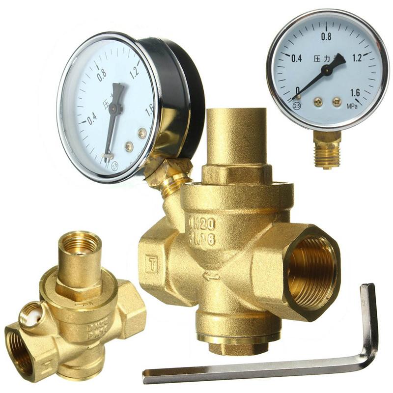"Brass DN20 3/4"" Water Pressure Regulator Valves With Pressure Gauge Pressure Maintaining Valve Water Pressure Reducing Valve(China (Mainland))"