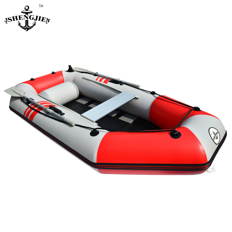 Genuine four hard bottom boat tarpaulin inflatable boat kayak fishing boat dinghies thick red + light gray(China (Mainland))