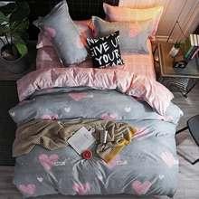 Hot sale stars Bedding set Superfine Fiber Winter Thickening bed linens 3/4pcs duvet cover set Pastoral bed sheet duvet cover(China)