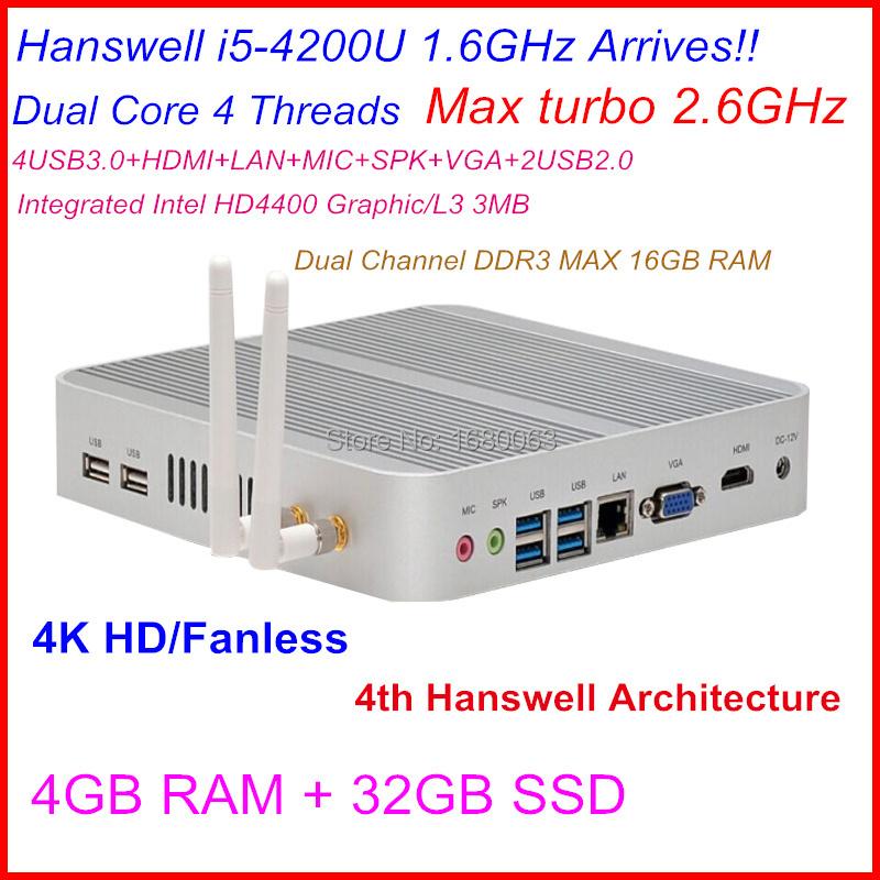New High Grade Powerful Mini Itx PC Intel NUC Mini Computer Core i5 CPU 4G RAM 32G SSDstorage 300M wifi 4K ultra HD(China (Mainland))